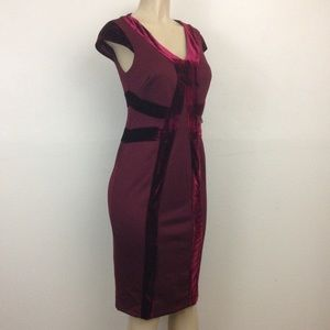NY&C  Dress Petite M Stretch Velvet Detail Sheath